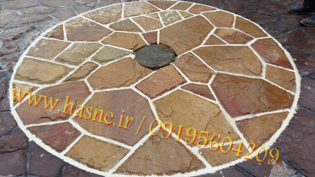طرح دایره داخل کف سنگ لاشه ورقه ای